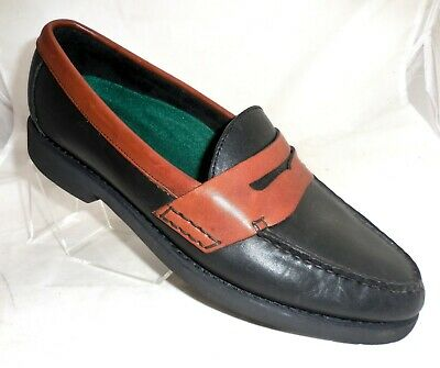 ROCKPORT Mens SIZE 9.5 M 2 TONE BLACK / BROWN Leather Penny Loafers Shoes • 12.84£