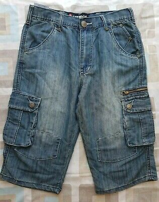 Boys Airwalk Blue Denim Look Cargo Shorts - Size 13 Years • 2.50£