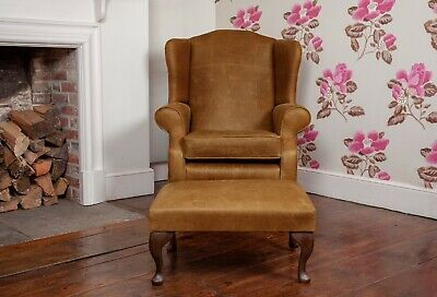£695 • Buy Leather Armchair High Back Wing Chair & Footstool In Vintage Tan Leather UK Made