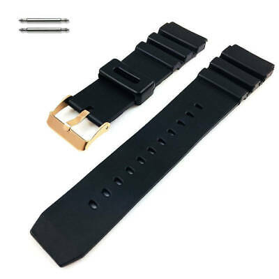 $ CDN14.56 • Buy Black Rubber Silicone Diver's Replacement Watch Band Strap Rose Gold Buckle 31RG