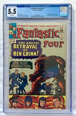 AU100 • Buy Marvel Comics Fantastic Four #41 CGC Grade 5.5 White Pages 8/65 Frightful 4 App