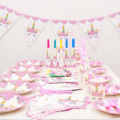 AU24.95 • Buy Unicorn Birthday Party Supplies Set & Tableware Kit X 6