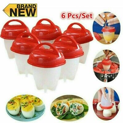 AU12.99 • Buy Silicone Egg Boiler Set Rings Eggletters Cooker Kitchen Tool 6Pcs Hard Boiled