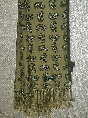 Tootal 100 % Silk Green Paisley Scarf. Mod • 10£