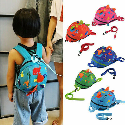 Kids Baby Cartoon Toddler Dinosaur Safety Harness Strap Bag Backpack + Reins • 8.99£