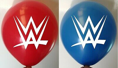 20 X WWE Wrestling Latex Party Bag Printed Balloons WWF Red Blue Balloon Helium • 6.95£