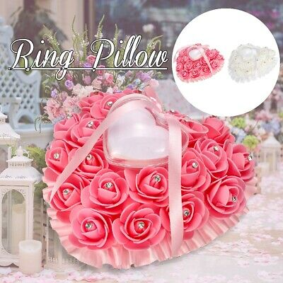 Wedding Ceremony Ivory Satin Crystal Ring Bearer Pillow Cushion Ring Pillow # * • 5.46£