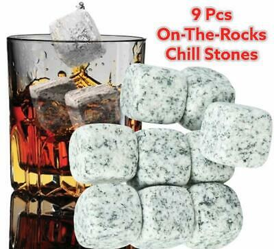 £7.39 • Buy New 9 Whisky Ice Stones Drinks Whiskey Scotch Cooler Cubes Rocks Granite & Pouch