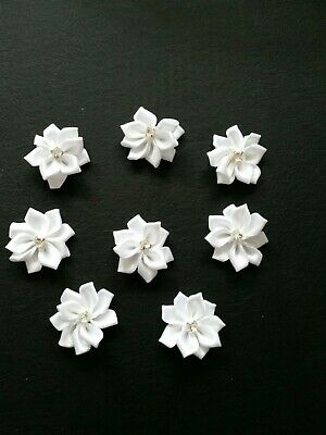 8 X White Satin Ribbon Diamante Flowers Sew Glue On • 2.49£
