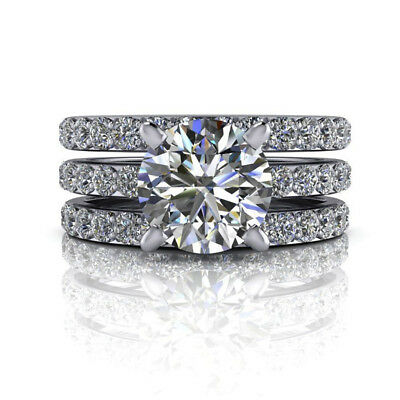 AU1495.39 • Buy 2.55 Ct Round Diamond Solitaire Wedding Ring 14 K White Gold Band Set 4 5 6 7 8