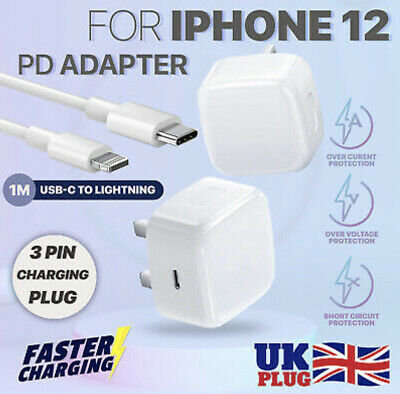£4.99 • Buy For IPhone 12 11 PRO MAX Charger Plug UK PD Plug Fast Charging Cable IPad Pro UK