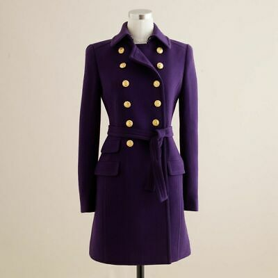 AU349 • Buy J. Crew Purple Double Cloth Wool Townhouse Belted Trench Coat Jacket $600+