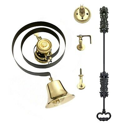 Victorian Butlers Bell Kit C/w Black Cast Iron Pull, Rope, Brass Bell & Pulleys  • 79.94£