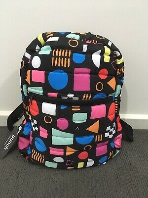 AU35 • Buy Punch Puffer Backpack Black Pattern 80s 90s BNWT Adult Rainbow Unique Coloured