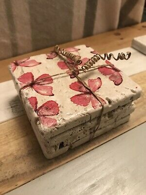 £10 • Buy Natural Stone Coasters, Set Of 4, Pink Butterfly Design
