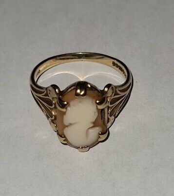 £99 • Buy Vintage 9ct Gold Cameo Ring Size P And A Half 2.9g