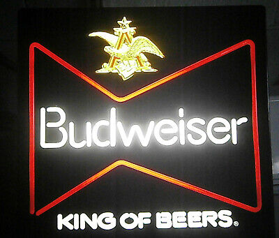 $ CDN88.37 • Buy Vintage Original Budweiser King Of Beers Lighted SIGN Bud Neon Plastic 18  X 18