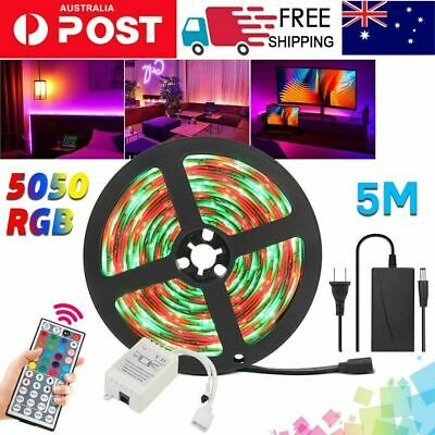 AU17.19 • Buy 5M 5050 RGB LED Strip Lights IP65 Waterproof 12V+44 KEY IR Controller Adapter