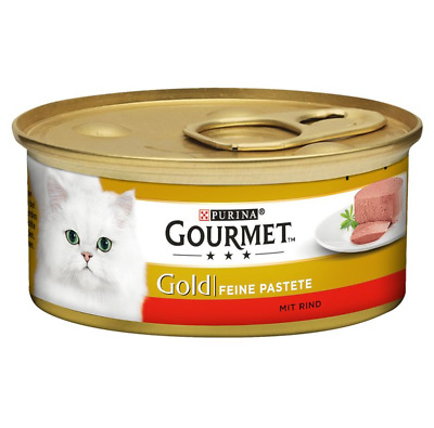 Gourmet Gold Pate Recipes Wet Cat Food 48 X 85g Pack Beef • 33.35£