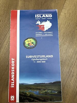 Island Iceland General Map (South-West) 1:300,000 Islandskort 2002 • 2.75£