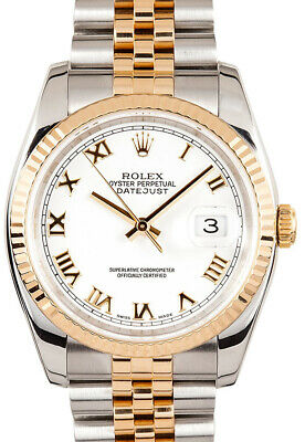 $ CDN10668.98 • Buy Rolex Datejust 18k Yellow Gold/Steel Roman White Dial Mens Watch 116233