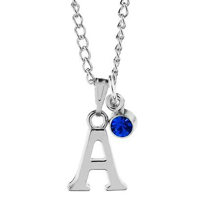 £2.65 • Buy Birthstone Necklace September Silver Plated Initial Letter Alphabet A-Z 18-30