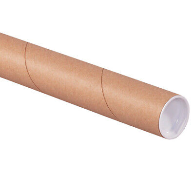 $59.97 • Buy Mailing Shipping Tubes With Caps 1 1/2  X 24 , Brown, Kraft, Pack Of 50