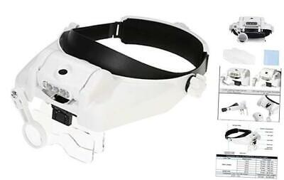 Magnifying Glass With Light For Close Work, Head Mount Magnifier Visor With 3  • 21.24£