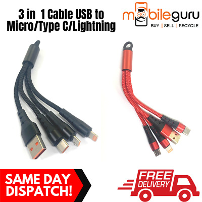 AU6.99 • Buy 3 In 1 Braided Strong Cable USB To Micro Type C Lightng Charging IPhone Android