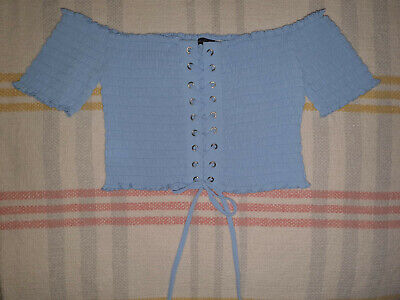 Blue Across The Shoulder String Tie Up Cropped Top Womens Size Large • 5£