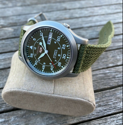 $ CDN169.18 • Buy Seiko 5 Military/Field Stainless Green Dial Canvas Band Auto Mens Watch 7S26-02J