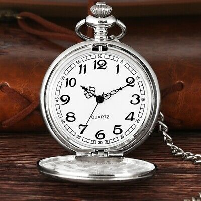 £4.59 • Buy Vintage Quartz SILVER Pocket Watch With Chain 1920's Classic Peaky Blinder Style