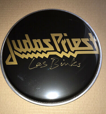 "Signed Les Binks 8"" Black Drum Head Judas Priest Rare Authentic Rob Halford • 69.99£"