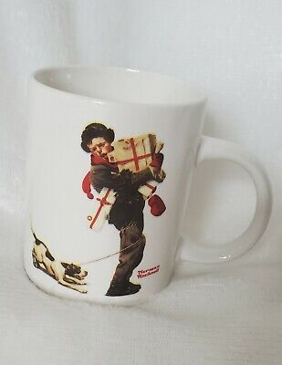 $ CDN13.04 • Buy Norman Rockwell Christmas Packages Boy Holding Presents Puppy Dog Coffee Mug