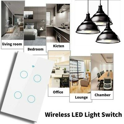 AU32.39 • Buy 4 Gang Smart Home Wifi Wall Light Touch Panel Switch App For Alexa Google Home