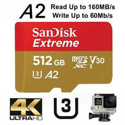 AU139.95 • Buy Micro SD Card SanDisk Extreme 512GB SDXC UHS-I 4K Action Camera U3 A2 160Mb/s