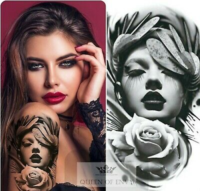 £2.99 • Buy Sexy Woman Time Rose Temporary Waterproof Tattoos Sleeve Mens Fake Sticker Arm