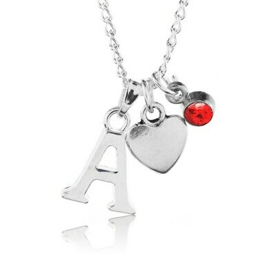 £3.50 • Buy Birthstone Heart Necklace July Silver Plated Initial Letter Alphabet A-Z 18