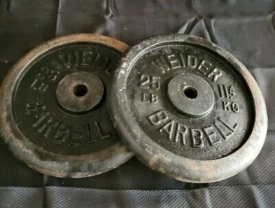 """$ CDN113.40 • Buy 2 X 25 Lb Vintage USA Weider 1"""" Barbell Weight Plates Pair- 50lbs Total"""
