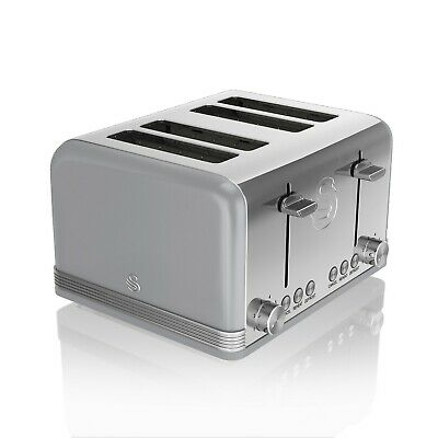 £56.95 • Buy Swan 4 Slice Retro Grey Stainless Steel Bread Loaf Toast Toaster Defrost Reheat