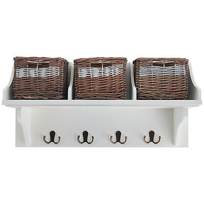 White Storage Shelf Unit With 3 Wicker Baskets And Coat Hook Hangers Rack Wooden • 29.95£