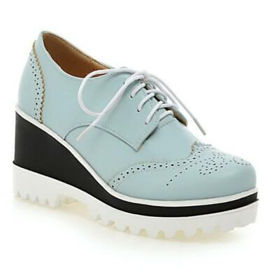 £32.67 • Buy Europe Women's Lace Ups Wing Tip 8cm Heel Oxfords Round Toe Shoes Casual 42 43 D