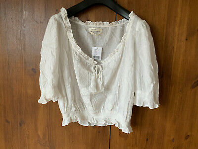 AU24.26 • Buy RRP £39 - URBAN OUTFITTERS CROP BOHO BLOUSE Top Off White L / UK 14 - BNWT