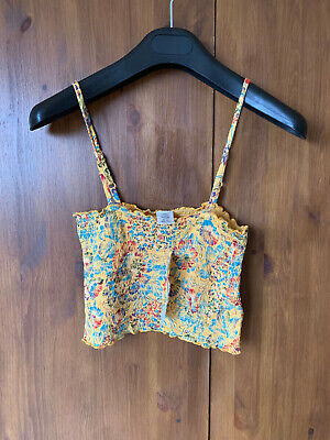 AU16.14 • Buy RRP £22 - URBAN OUTFITTERS CROP VEST Blue Floral Shrirred Summer XS S - BNWT