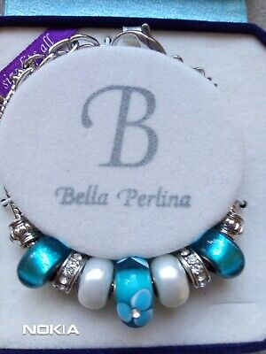 £9.99 • Buy NEW Boxed  Genuine Bella Perlina Charm Bracelet With Turquiose Blue Charms