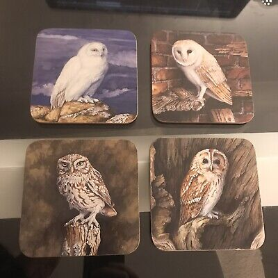 £8.99 • Buy Owl Coasters 'The Barn Owl' Set Of 4 Coasters From Suffolk Owl Sanctuary - New