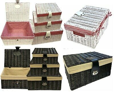 Wicker Storage Baskets With Lid Lock Resin Woven Basket Easter Gift Hamper Box • 13.99£