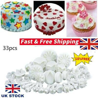 Plunger Cutters Cake Decorating Fondant Cookie Biscuit Mold Flower Set Baking UK • 6.75£