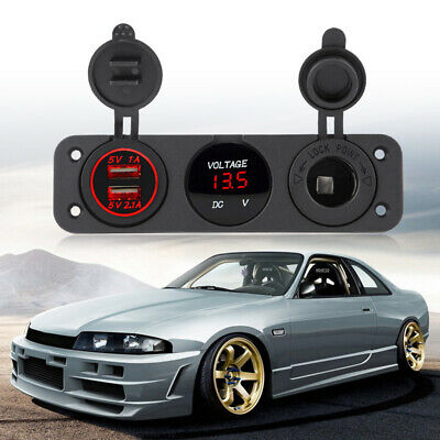 12-24V Red LED Dual USB Charger Voltmeter Cigar Lighter Power Outlet Car Boat • 18.29£