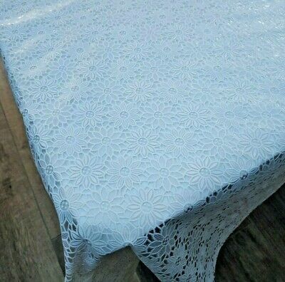 Daisy White Lace PVC Vinyl Wipe Clean Oilcloth Tablecloth • 4.99£